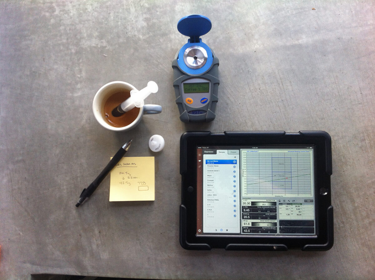 Coffee science equipment - scales, tablet and syringe