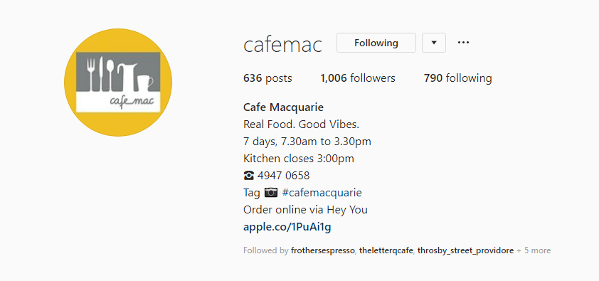 cafe macquarie instagram profile