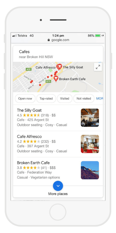 Google 3 pack local search screenshot
