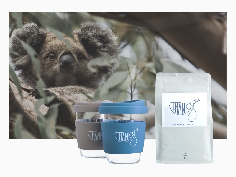 Thankyou Blend and cups with Koala