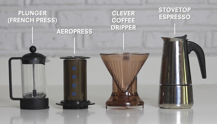 home coffee brewer lined up on bench