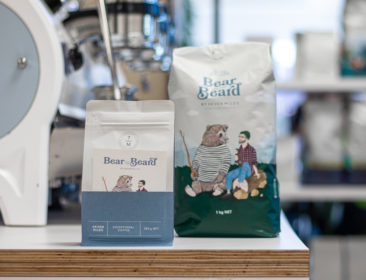 Bear & the Beard coffee on the counter in a cafe