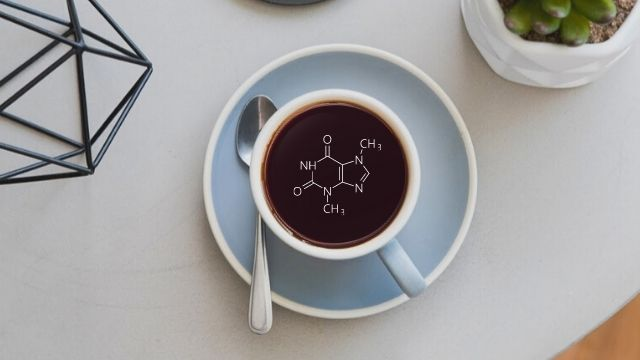 caffeine chemical symbol in cup of coffee