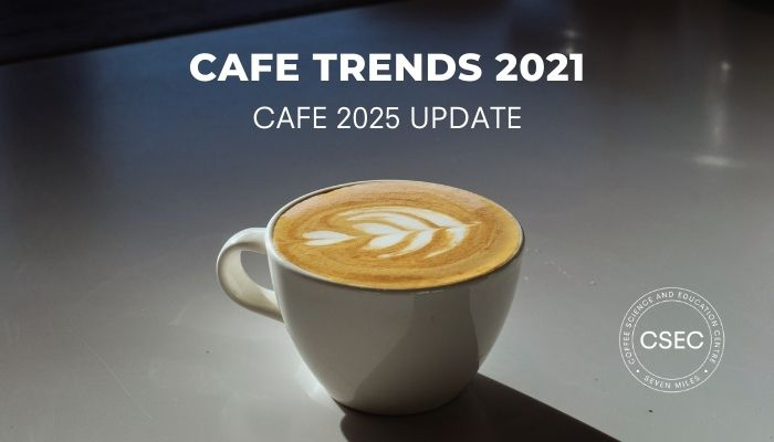 cafe trends 2021 title image flat white on counter